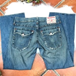 True Religion Joey jeans distressed! Worn lightly